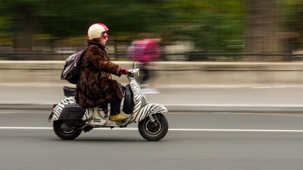 A motor scooter in Paris