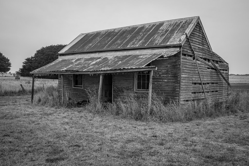 Front of an old derelict farmhouse